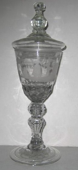 CUT AND ETCHED BLOWN GLASS LIDDED POKAL