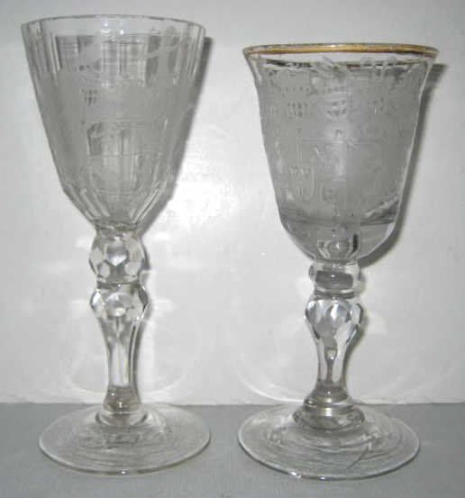 TWO ETCHED GLASS ARMORIAL GOBLETS