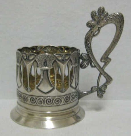 RUSSIAN SILVER TEA GLASS HOLDER