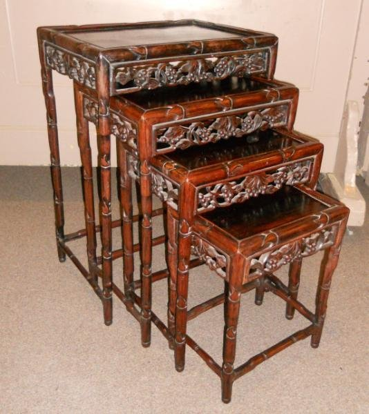 NEST OF FOUR ANTIQUE CHINESE NESTING TABLES