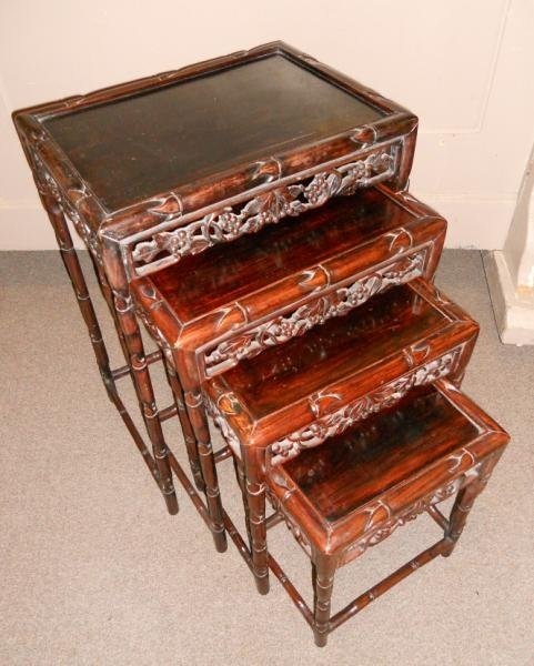 NEST OF FOUR ANTIQUE CHINESE NESTING TABLES - 2