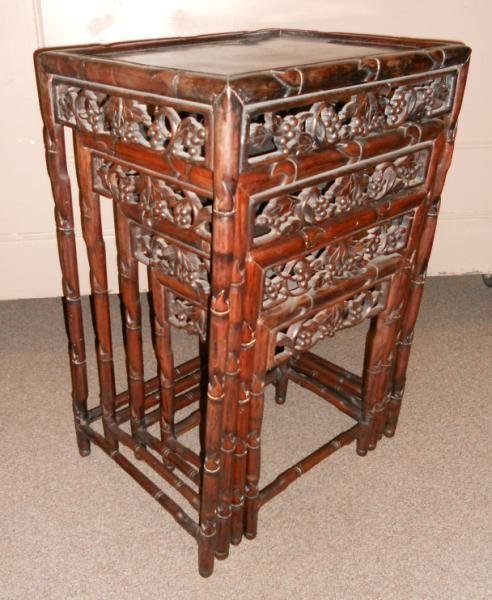 NEST OF FOUR ANTIQUE CHINESE NESTING TABLES - 3