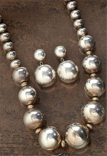 SILVER BEAD NECKLACE AND EARRINGS