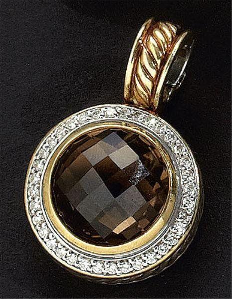 SMOKEY QUARTZ  AND DIAMOND PENDANT, DAVID YURMAN