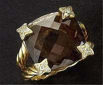 SMOKEY QUARTZ AND DIAMOND RING, DAVID YURMAN