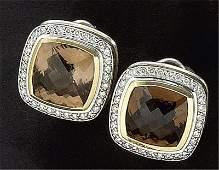 SMOKEY QUARTZ AND DIAMOND EARRINGS, DAVID YURMAN