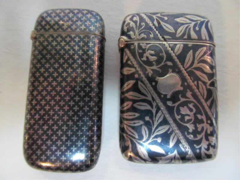 TWO STERLING NIELLO MATCH SAFES