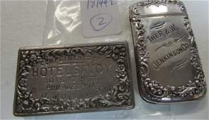 TWO ADVERTISING MATCH SAFES