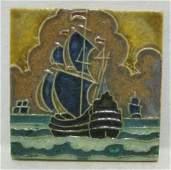 AMERICAN ART POTTERY SHIP TILE