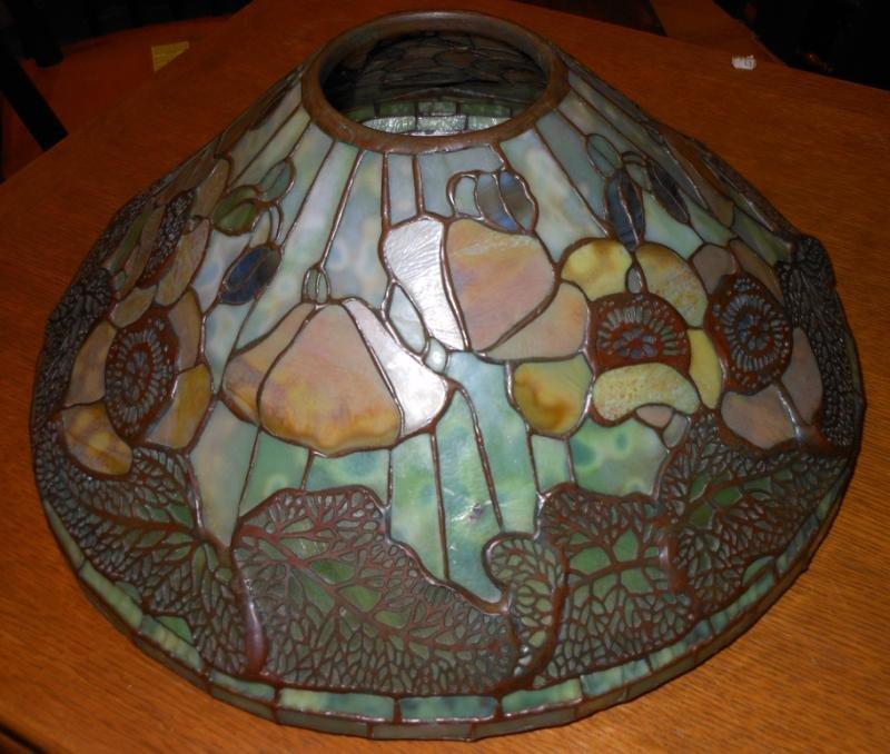 LEADED GLASS AND BRONZE LAMP SHADE
