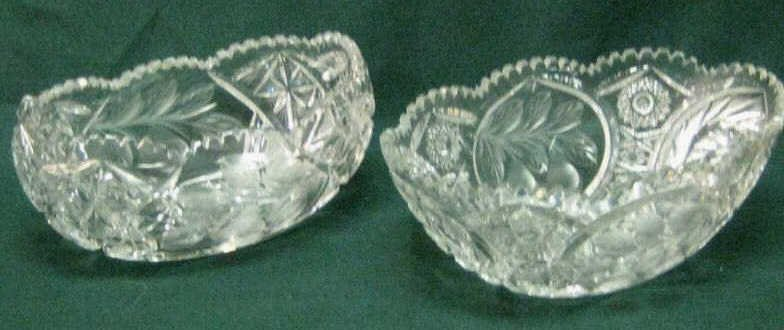 TWO CUT GLASS SERVING BOWLS