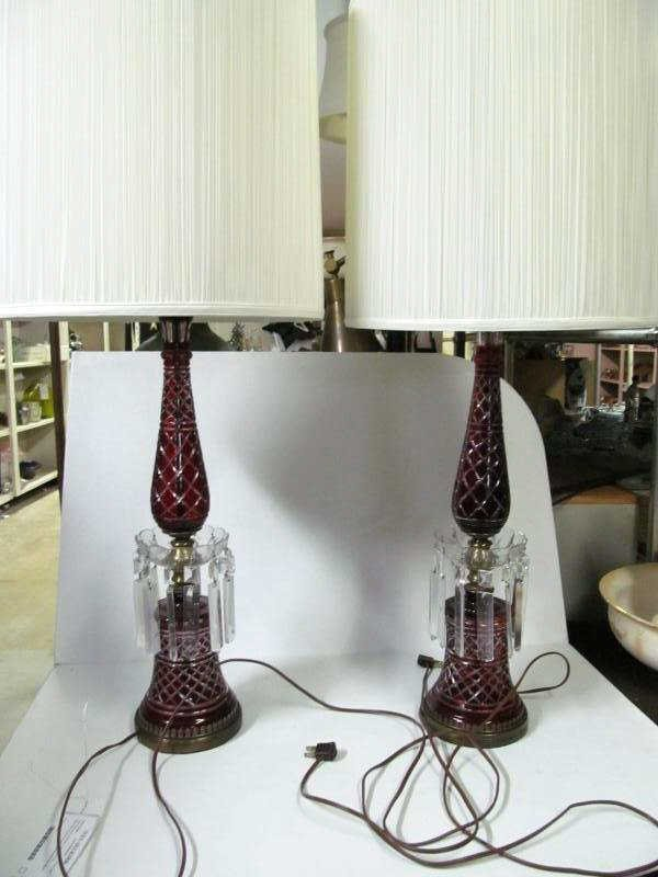 PAIR CRANBERRY OVERLAY GLASS TABLE LAMPS