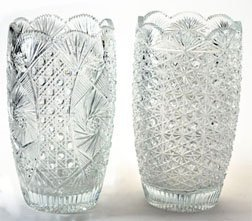 TWO BRILLIANT-STYLE CUT GLASS VASES