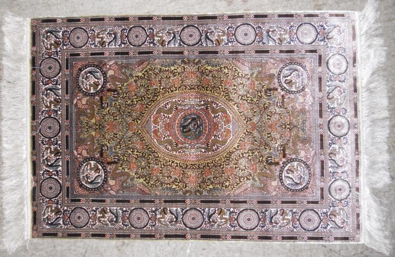 FINELY WOVEN SILK THROW RUG