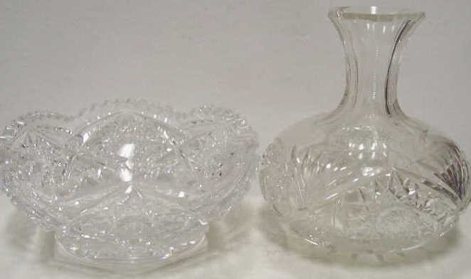 CUT GLASS SERVING BOWL AND BOTTLE