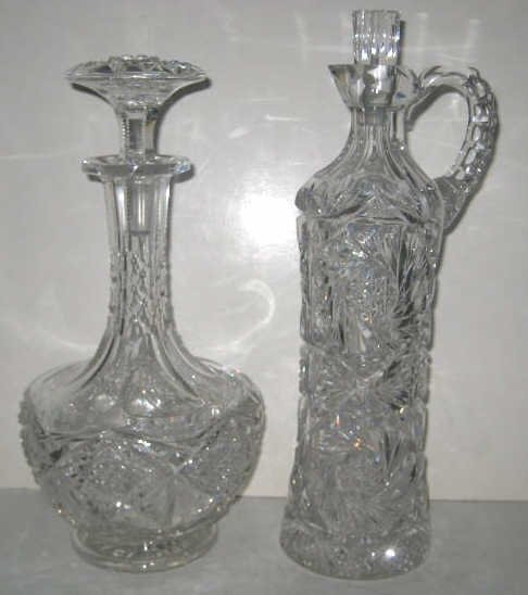 TWO BRILLIANT CUT GLASS LIQUOR DECANTERS