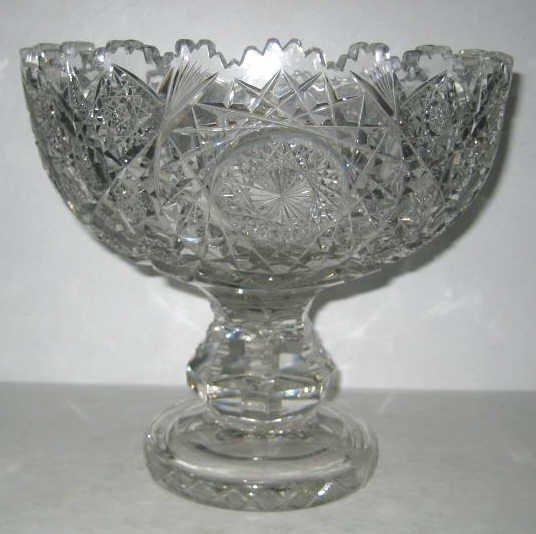 CUT GLASS PEDESTAL BOWL