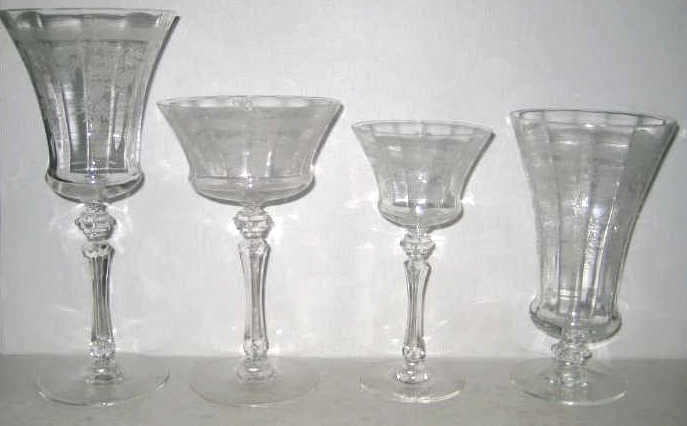 AMERICAN ETCHED GLASS STEMWARE