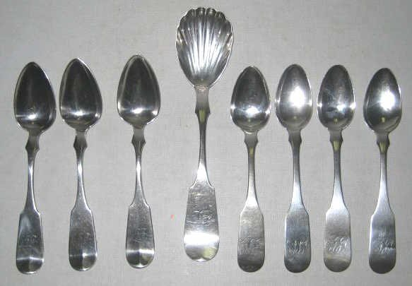 AMERICAN 19TH CENTURY COIN SILVER SPOONS