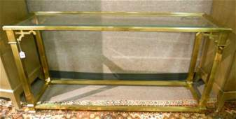 CONTEMPORARY BRASS WITH GLASS TOP CONSOLE TABLE