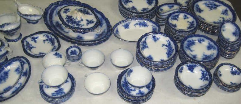 STAFFORDSHIRE FLOW BLUE POTTERY PART DINNER SET