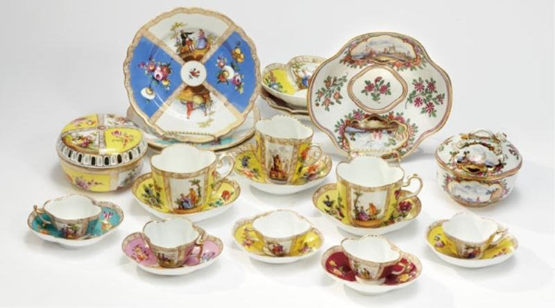 COLLECTION OF 19TH CENTURY MEISSEN STYLE PORCELAIN