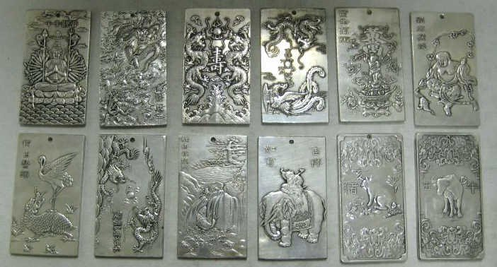 SET OF CHINESE STERLING SILVER ZODIAC PLAQUES