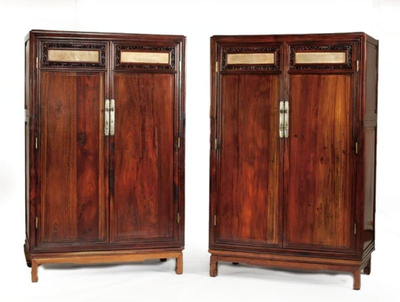 PAIR QING DYNASTY HUANGHUALI AND MIXED WOOD