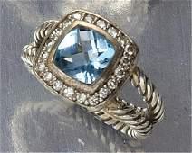 BLUE TOPAZ AND DIAMOND RING, DAVID YURMAN