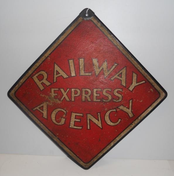RAILWAY EXPRESS AGENCY DOUBLE SIDED SIGN