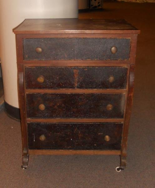 COUNTRY WALNUT CHILD'S FIVE DRAWER CHEST