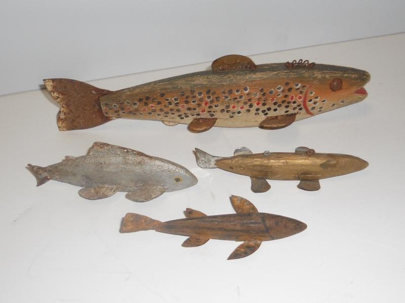 FOUR VINTAGE ICE FISHING DECOYS