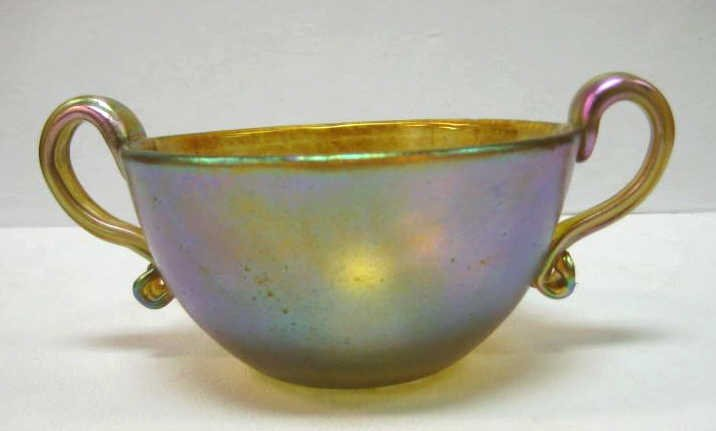 TIFFANY FAVRILE GOLD IRIDESCENT GLASS CUP
