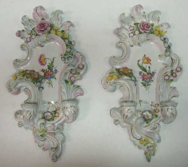 PAIR OF VON SCHIERHOLZ PORCELAIN WALL SCONCES