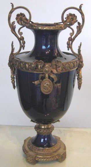 FRENCH GILT-METAL MOUNTED PORCELAIN URN