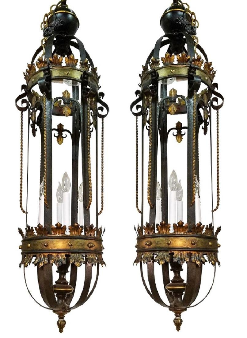 Pair Early 20th C. Iron Italian Lanterns