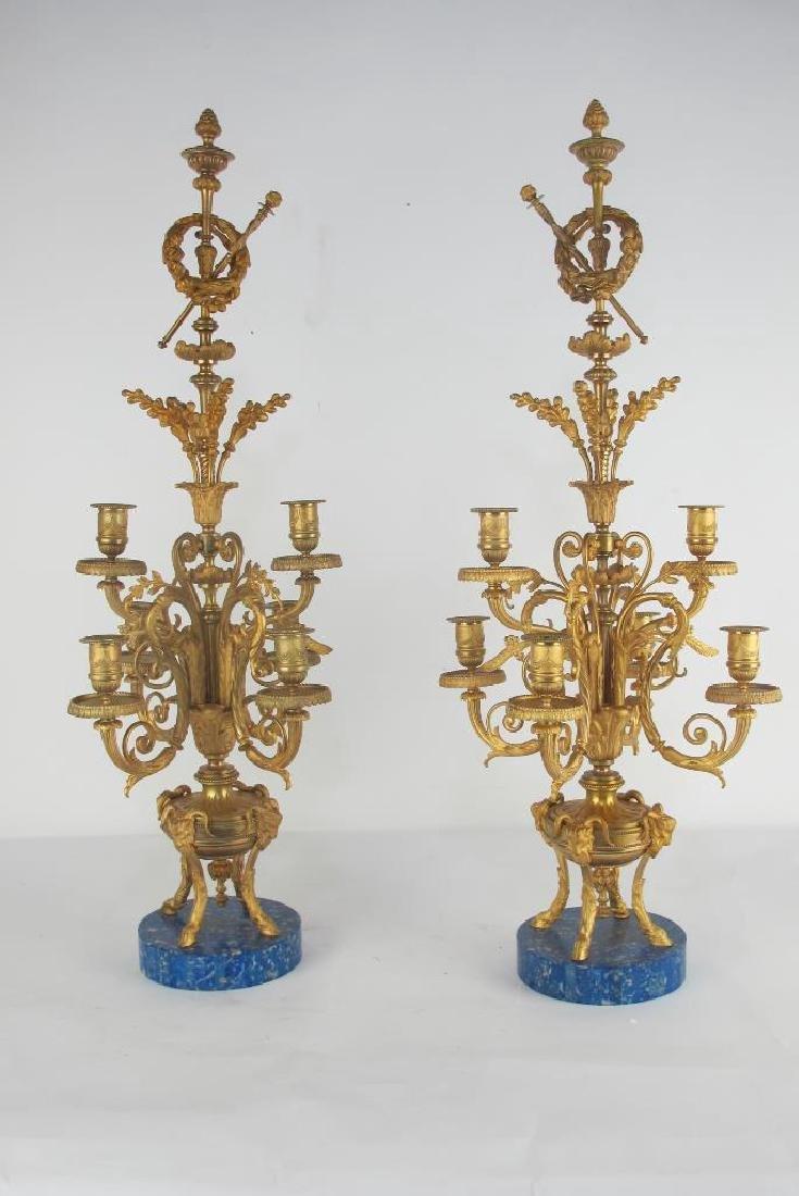 Pair 19th C. Fine French Gilt Bronze Candelabras