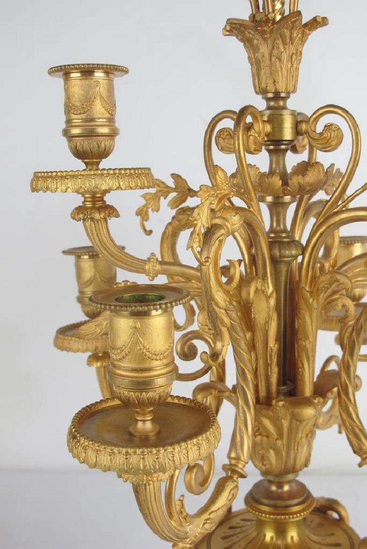 Pair 19th C. Fine French Gilt Bronze Candelabras - 5