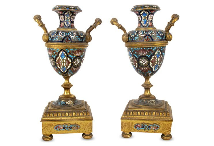 Pair of Champleve Urns
