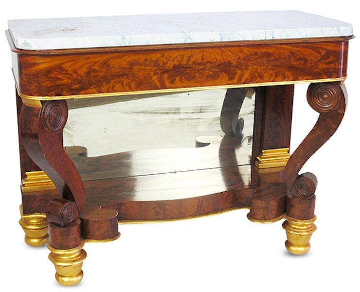 American Empire Marble Top Console Table