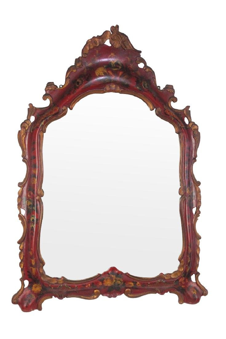 19th C. Venetian Red Decorated Mirror