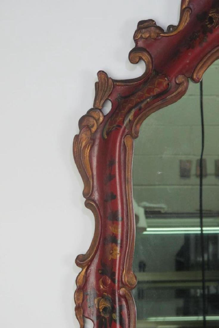 19th C. Venetian Red Decorated Mirror - 5