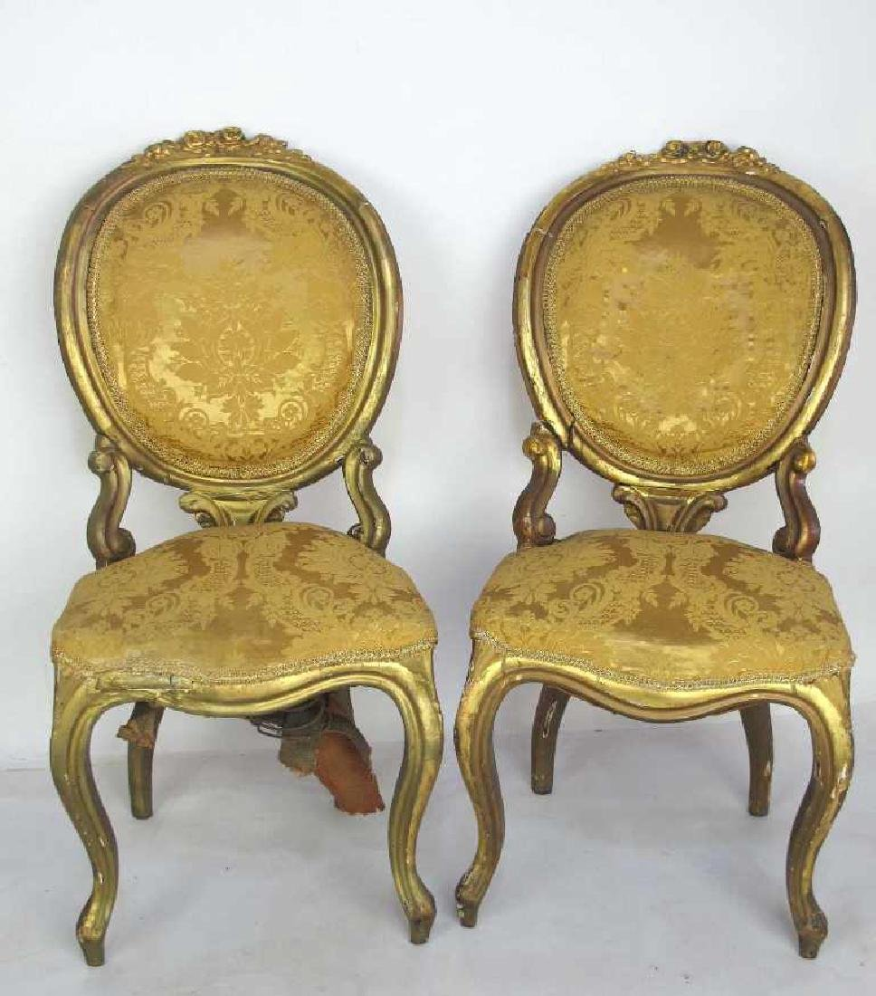 Carved Gilt Wood Chairs and Settee - 10