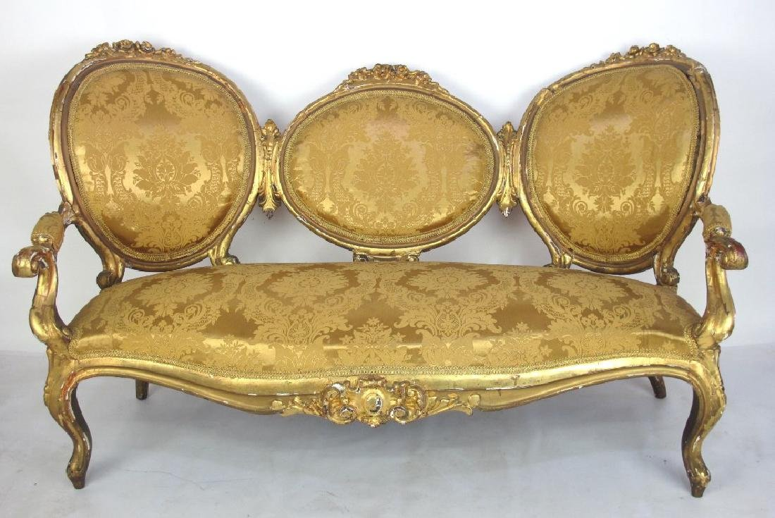 Carved Gilt Wood Chairs and Settee - 2