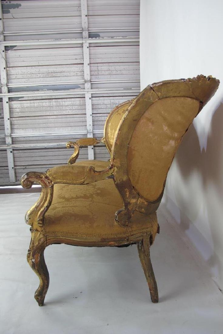 Carved Gilt Wood Chairs and Settee - 7