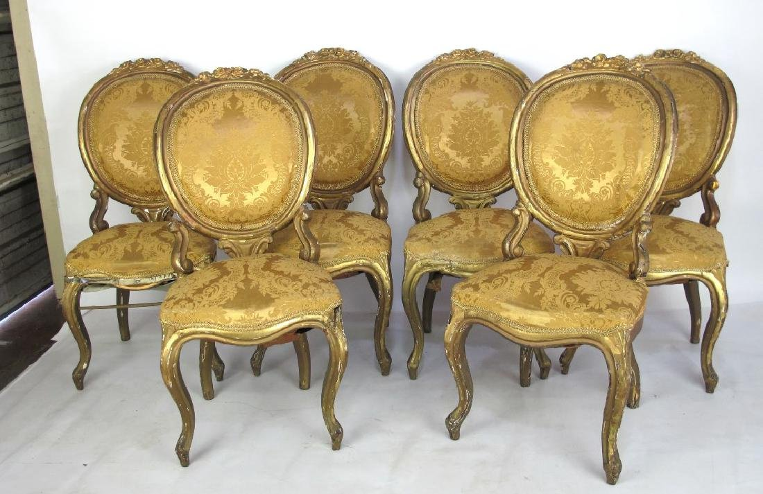 Carved Gilt Wood Chairs and Settee - 8