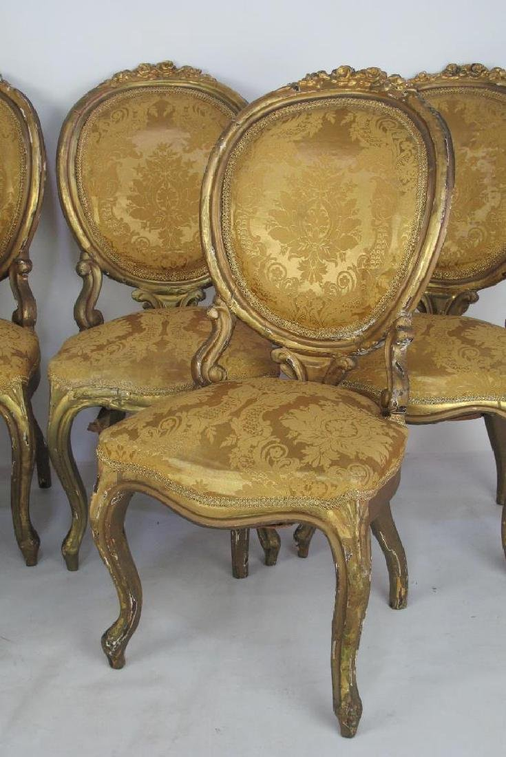 Carved Gilt Wood Chairs and Settee - 9