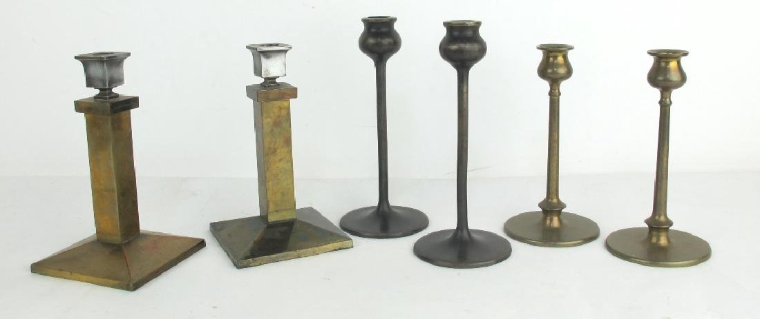 Three Pair Arts & Crafts Candlesticks