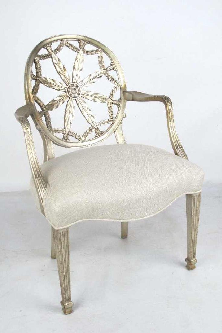 Antique Silver Leaf Carved Armchair