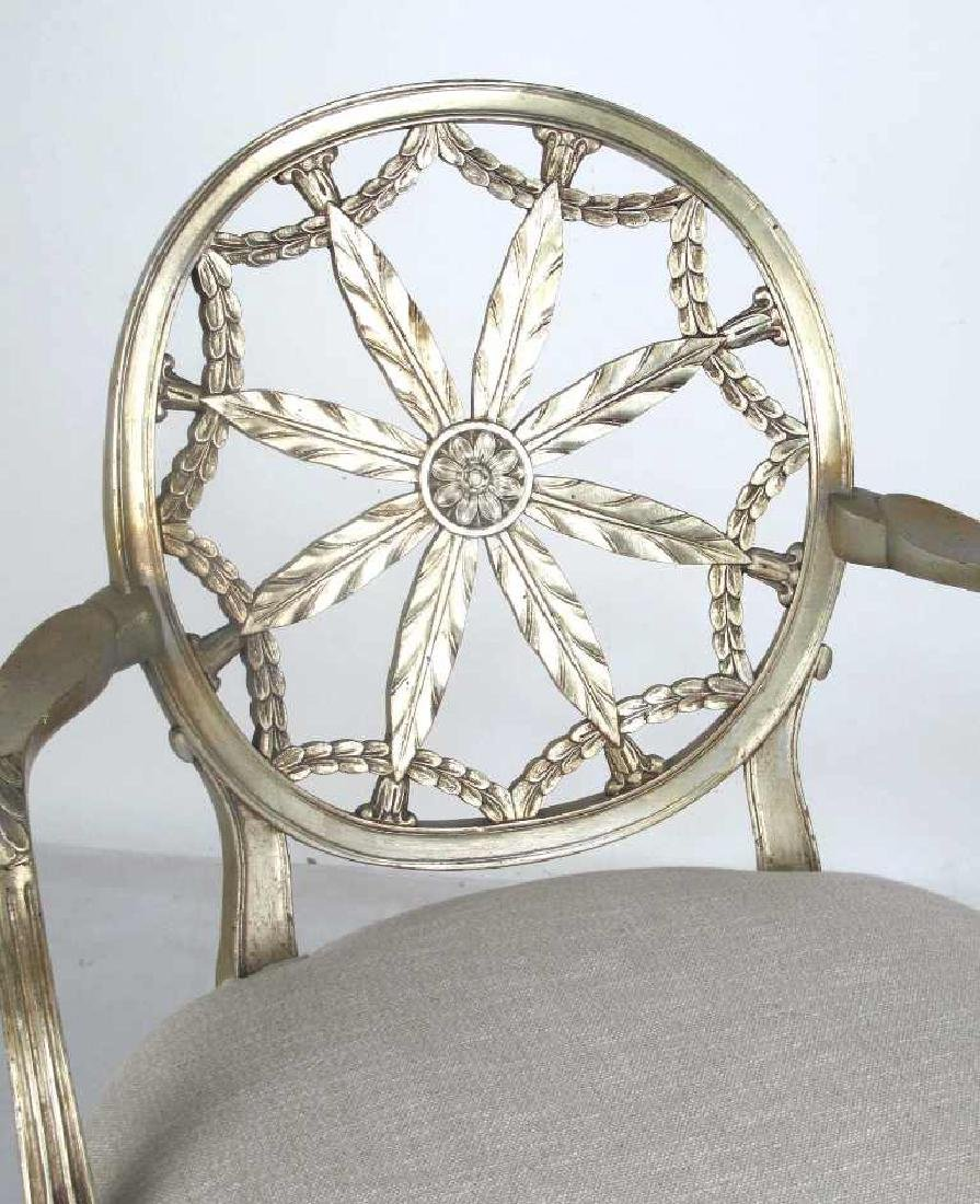 Antique Silver Leaf Carved Armchair - 2